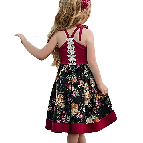 Girls Floral Dress Kids Clothing Backless Fashion Sleeveless Vest Braces Skirt Slip Dress