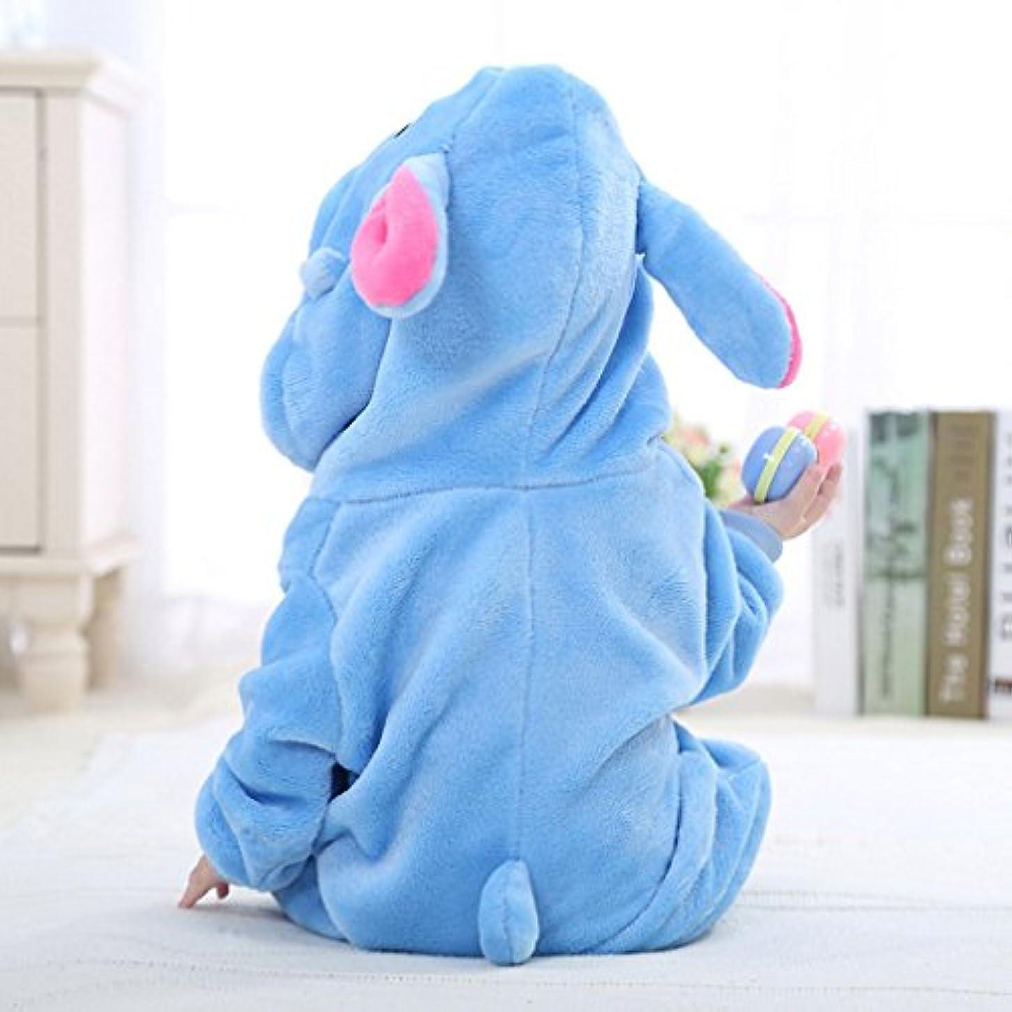 図ブリリアント部分的(コ-ランド) Co-land ベビー ロンパース 動物 着ぐるみ クマ コスチューム あったか パジャマ 幼児 赤ちゃん カバーオール 出産祝い ブルー 70
