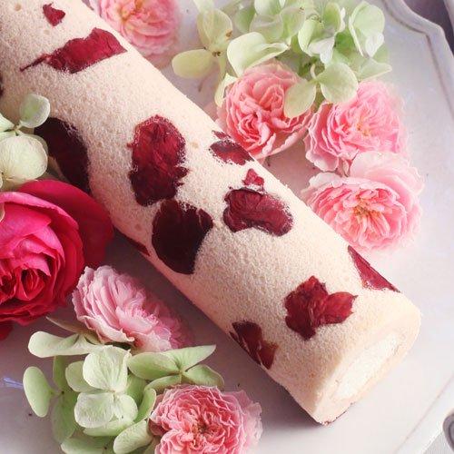 【日比谷花壇】お花のスイーツ「花咲くローズ ロールケーキ 」 ヒビヤカダンスイーツ