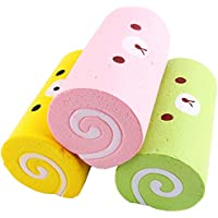 2pcs / 15 cmキュートジャンボカートゥーンベアケーキロールSquishy Slow Rising Bread Sweet Kid Toy Squeeze Toy電話ストラップ