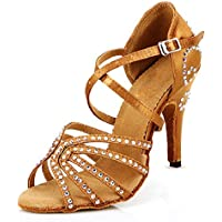 DLisiting Womens Ballroom Dance Shoes Brown Satin Rhinestone Salsa Latin Dance Shoes 4 Inch Heel