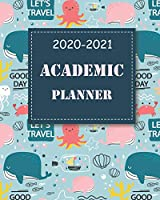 2020-2021 Academic Planner: Blue Fish, 24 Months Academic Schedule With Insporational Quotes And Holiday.
