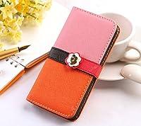 iphone5 iphone5sレザーケース 手帳型 花 スマホケース (ピンク×オレンジ&iphone5/5S )