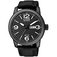 Citizen Mens Eco-Drive Black Stainless Steel/Nylon Strap Watch BM8475-34E