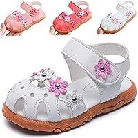 DADAWEN Girls' Closed-Toe Summer Solid Flower Outdoor Sport Casual Sandals(Toddler/Little Kid)