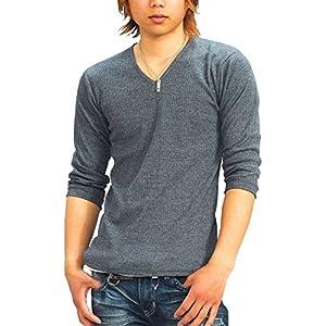 (スペイド) SPADE Tシャツ メンズ 無地 七分袖 カットソー Vネック プレーン【q424】 (L, グレー)