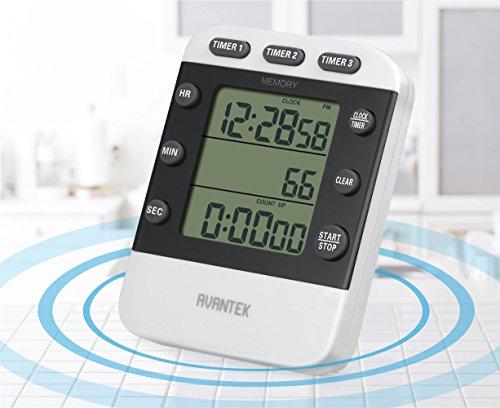 AVANTEK デジタルタイマー キッチンタイマー 時計付大画面タイマー メモリー機能 収納式スタンド クリップ KT-11W