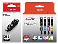 Genuine Canon PGI-250 (6497B001) CLI-251 (6513B004) Color (Black,Photo Black, Cyan,Magenta,Yellow) Ink Tank 5-Pack [並行輸入品]
