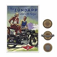 "Artdash Studio ~ 13"" × 19""アートポスター: Historic German Zundapp Motorcycle 13""×19"" グリーン"