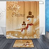 Alaza Golden Merryクリスマス雪だるま防水ポリエステル生地のシャワーカーテン60W x 72hインチフック付きドアマットバス床マット23.6L x 15.7Wインチバスルームホームデコレーションゴールド