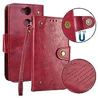 LoveBee Sony Xperia XA2 Ultra 財布 カード ホルダー 保護シェル 滑り防止 フォリオ PU レザー カバー 〜と 滑り防止 シェル の Sony Xperia XA2 Ultra - Red
