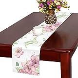 GGSXD テーブルランナー 咲く りんごの花 クロス 食卓カバー 麻綿製 欧米 おしゃれ 16 Inch X 72 Inch (40cm X 182cm) キッチン ダイニング ホーム デコレーション モダン リビング 洗える