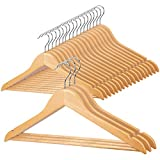 Wooden Coat Hanger 20 Pack, Heavy Duty Wood Clothes Hangers with 360° Swivel Hook, Suit Hanger with Notches & Non Slip Pants Bar for Jacket, Sweater, Camisole, Pants, Dresses, Shirts, Hoodie