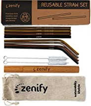 Zenify Reusable Metal Straws with Case + Bag + Cleaners - Stainless Steel Kids Smoothie Eco Friendly Drinking 8 Straight & B