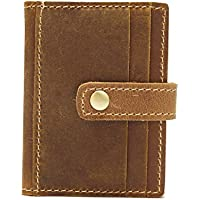 LDUNDUN-BAG, 2019 Practical Wave Crazy Horse Leather Multi-Card Card Package Unisex Short-Sleeved Card Package (Color : Bronze, Size : S)