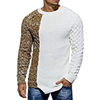 Runcati Mens Color Block Crew Neck Sweater Pullover Cable Fall Winner Casual Knit Ribbed Long Sleeve Sweaters