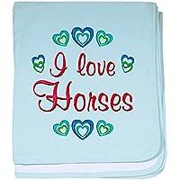 CafePress – I Love Horses – スーパーソフトベビー毛布、新生児おくるみ ブルー 057413571825CD2