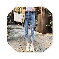 ストレートジーンズ女性2018年夏の新しいハイウエスト緩い薄い弾性9パンツのステッチパンツ,浅蓝色,XL