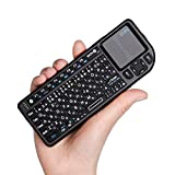 ?Ewin® ミニ bluetooth キーボード Mini Bluetooth keyboard タッチパッド搭載 ワイヤレス 小型 キーボード マウス 一体型 無線 USB レシーバー バックライト付き 使用便利 【日本語説明書と一年の保証付き】ブラック