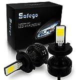 Safego LED ヘッドライト H4 Hi/Lo切り替え型 フォグランプ 白 66W 6000ルーメン/2本セット CREE製 COB 冷却ファン内蔵モデル 2個ずつLEDチップを搭載発光 高輝度 12V 6000K 自動車 汎用 交換 コントローラー付き C2-H4