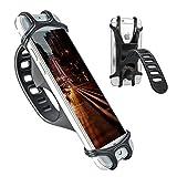 PUFF 自転車ホルダー スマホホルダー シリコン製 自転車/バイク用スタンド 携帯ホルダー 脱落防止 保護シリコンバンド 多機種対応 自転車 バイク ショッピングカート ベビーカーに取り付け GPSナビ スマホ iPhone固定用(ブラック)