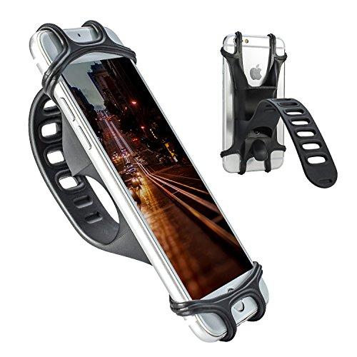 YIEASY 自転車ホルダー スマホホルダー シリコン製 自転車/バイク用スタンド 携帯ホルダー 脱落防止 保護シリコンバンド 多機種対応 自転車 バイク ショッピングカート ベビーカーに取り付け GPSナビ スマホ iPhone固定用(ブラック)