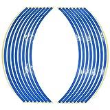 Harimao 反射 リム ステッカー 17 18 インチ バイク ホイール 対応 クロス セット (3.ブルー)