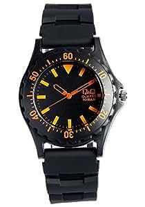 [シチズン キューアンドキュー]CITIZEN Q&Q 腕時計 アナログ表示 カラーウォッチ ラバー ブラックオレンジ ダイバーズデザイン メンズ レディース キッズ