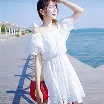 夏ワンピース レディース ビーチ レースワンピース 海 旅行 肩出し 夏らしい清涼感 お嬢さん ホワイト ロリータ オシャレ 大人可愛い ショート丈 姫系 韓国風 ホワイト