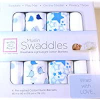 SwaddleDesigns Muslin Swaddle Blanket, Blue and White, 4 Count by Muslin Swaddles
