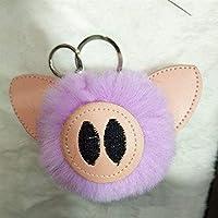 Tuersuer Creative Bag Pendant Decoration Keyring PU Leather Pig Plush Ball Key Chain Pendant Cartoon Plush Doll Key Ring Keychain(Light Purple) [並行輸入品]