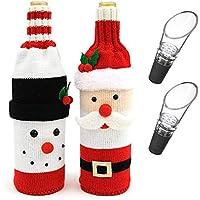 かわいいクリスマスセーターのワインボトルカバー、2つのピースのクリスマスデコレーションのためのワインボトルセーターかわいいクリスマスセーターパーティーデコレーション&余分な2パックアクリルワインのパウダー