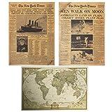 Y-Joy アンティーク レトロ調 ポスター3種類セット 英字新聞 世界地図 ビンテージ風 大きいポスター