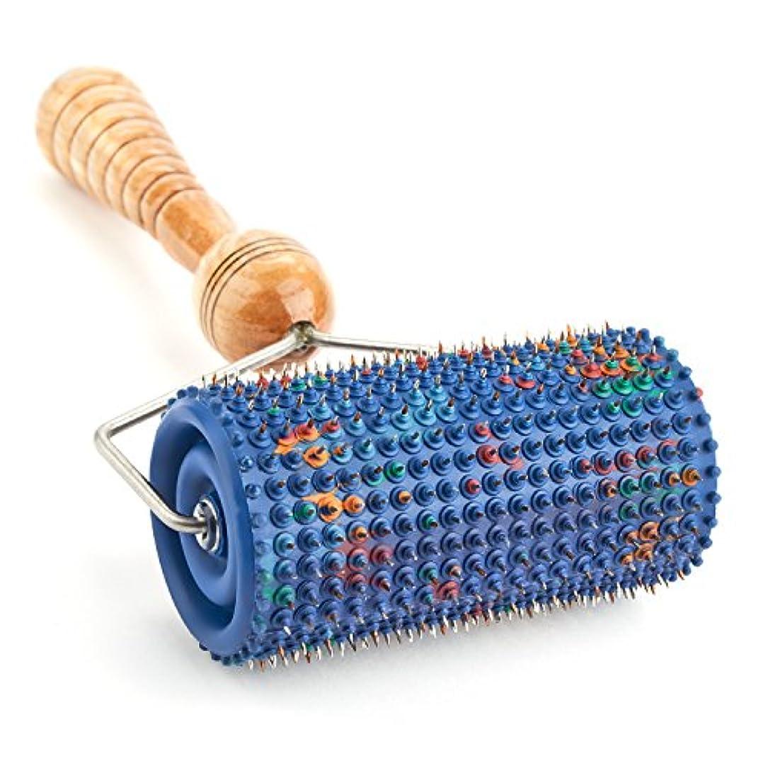部分的に赤ミトンLYAPKOビッグローラーマッサージャー5.0 シルバーコーティング 指圧570針使用。体の広範囲のマッサージ用。ユニークなアプリケーター治療 セルフ ダイナミック マッサージ ツール Big Roller Massager...