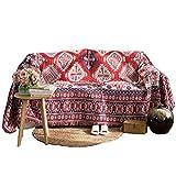 Unigarden マルチカバー 両面 コットンブレンド 多機能 おしゃれ ソファーのカバー 四季通用 (レッド+ブルー, 180*230cm)