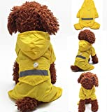 (Meilleur reve)【反射テープ &リードフック付き】中型 大型 犬 レイン コート ウエア かっぱ 足付き パンツ 雨 散歩 アウトドア (10.イエローL)