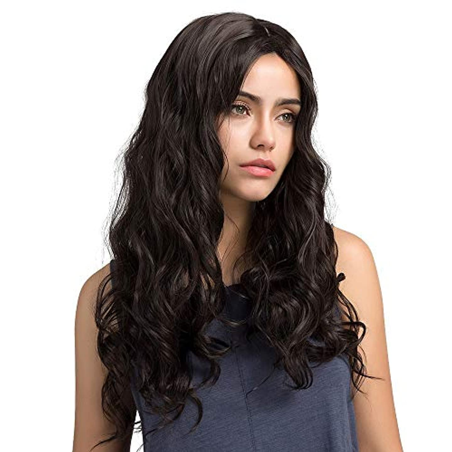 女性スーパー狭い女性の小さな波状の長い巻き毛のふわふわのかつら65 cm