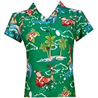 Hawaiian Shirt Womens Christmas Santa Claus Top Blouse Party Aloha Holiday Beach