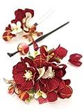 髪飾り 3点セット 成人式 振袖 花 和柄 リボン 赤 和装