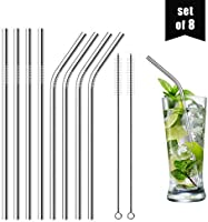 """DIRECT FROM FACTORY Set of 8 Reusable Stainless Steel Straws, 8.5"""" (6mm x 215mm) - 316 Stainless Steel FDA-Approved,..."""