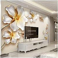 Xbwy 3D壁画ゴールデンフラワージュエリーラグジュアリーフォト壁紙リビングルームホテルの背景-120X100Cm