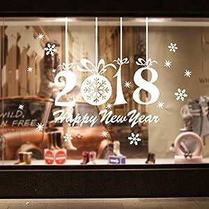 AWHAO ウォールステッカー 新年 窓 happy new year 2018 窓 ガラス ウィンドウステッカー はがせるウォールステッカー 装飾 お正月 飾り 雑貨 ガラス 新年おめでとう 雪の結晶 DIY 部屋 デパート 店舗用 (B, ホワイト)