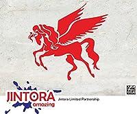 JINTORA ステッカー/カーステッカー - Pegasus flying - ペガサス飛行機 - 91x88mm - JDM/Die cut - 車/ウィンドウ/ラップトップ/ウィンドウ- 赤