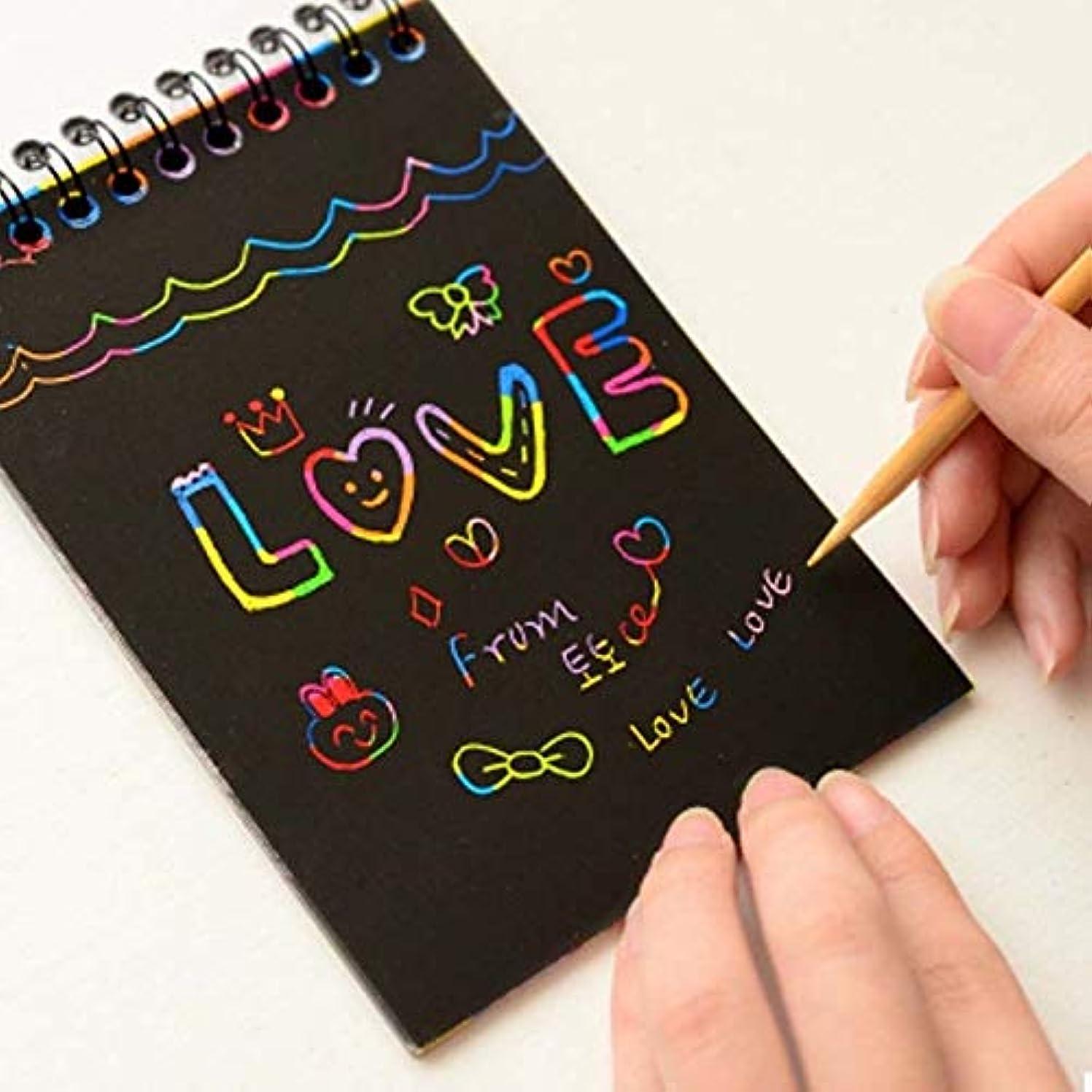 対象ピグマリオン大いにCYFC 新しいカラフルな紙DIY子供の教育玩具楽しい落書きスクラッチ子供の落書きカラフルなブラックウッドスティック子供工芸品-20