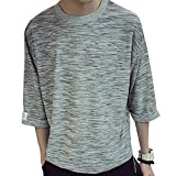 Goodid Tシャツ 五分袖 おしゃれ シンプル ゆったり 杢調 カジュアル 夏服 メンズ