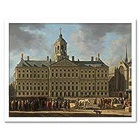 Berckheyde Town Hall Dam Square Amsterdam Painting Art Print Framed Poster Wall Decor 12x16 inch ペインティングポスター壁デコ