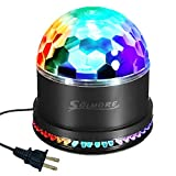 SOLMORE ミニレーザーステージ照明 半球形カラフル水晶魔球LED ステージ/ディスコ/パーティー/KTV/カラオケ/クラブ/バー照明ライト 12W RGB ブラックターンテーブルスポットライト AC 90V-260V