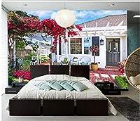 Mbwlkj 写真の壁紙リビングルームの壁紙3D絵画オリジナル美しいロマンチックな庭のコテージ花つるの壁-400cmx280cm