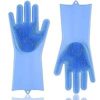 再利用可能なシリコーン手袋洗浄スクラバー-シリコーン洗浄ブラシスクラバー手袋-耐熱-クリーニング-家庭用食器洗浄-車を洗う-青