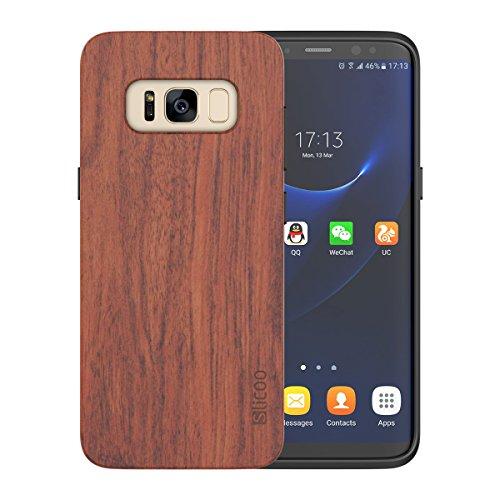 【正規販売店】Slicoo Samsung Galaxy S8 ケース 木製ケース 自然シリーズカバー 木の質感がいい 精密なデザイン 丈夫な素材 耐衝撃 全面保護  手触り心地よい♪ Samsung Galaxy S8対応 「一生保証期間」 (Rose wood)